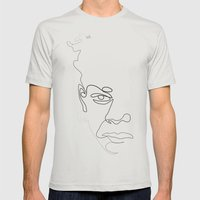 Half-a-Basquiat: One Lin… Mens Fitted Tee Silver SMALL