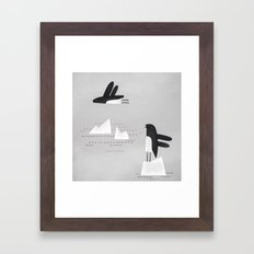 is that penguin flying? Framed Art Print