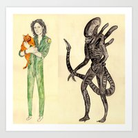 alien Art Prints featuring \ALIEN/ by withapencilinhand