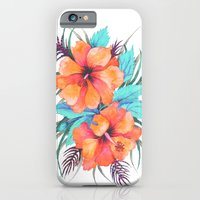 iPhone & iPod Case featuring TROPICAL FLOWER {orange hibiscus}  by Schatzi Brown