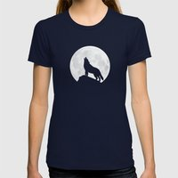 Howling Wolf - Moon Womens Fitted Tee Navy SMALL