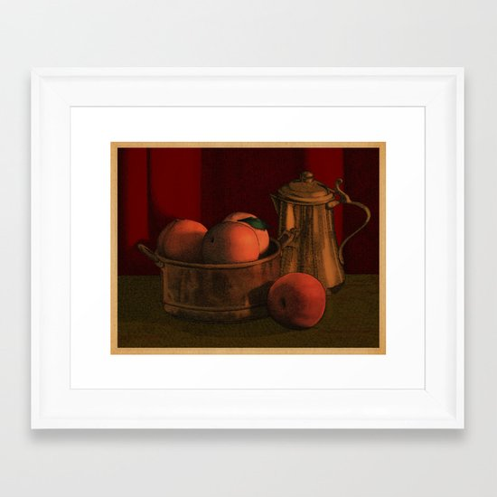 Still life with peaches Framed Art Print