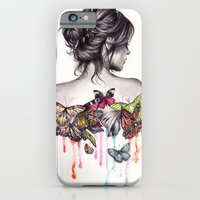 woman iPhone & iPod Cases featuring Butterfly Effect by KatePowellArt