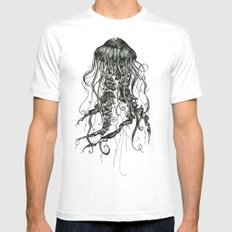 Jellyfish White SMALL Mens Fitted Tee