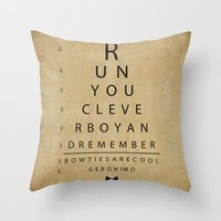 Run You Clever Boy - Doctor Who Vintage Eye Exam Chart Throw Pillow