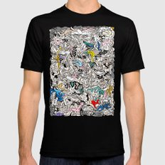 Kamasutra Bodies Figures Doodle in Color Mens Fitted Tee Black SMALL