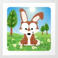 Woodland Animals Series II.  Hare Art Print
