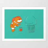 jellyfish Art Prints featuring Jellyfish by Lili Batista