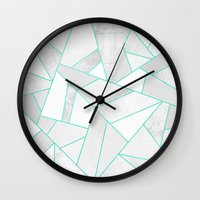 White Stone With Turquoi… Wall Clock