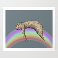 Nap (Sloth & Rainbow 2) Art Print