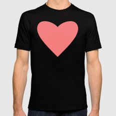 Coral Heart Black SMALL Mens Fitted Tee