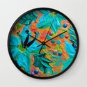 BLOOMING BEAUTIFUL 2 - Modern Abstract Acrylic Tropical Floral Painting, Home Decor Gift for Her Wall Clock