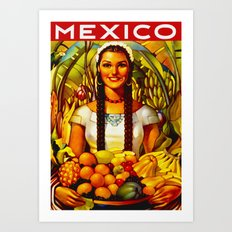 Vintage Bountiful Mexico Travel  Art Print