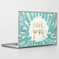 quote Laptop & iPad Skins featuring Treat Yo Self – Gold & Turquoise by Cat Coquillette
