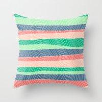 Beach Stripe (Spring) Throw Pillow