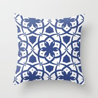 Pattern Print Edition 1 No. 1 (navy and white) Throw Pillow