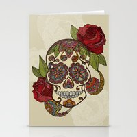sugar skull Stationery Cards featuring Sugar Skull by Valentina Harper