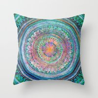 Pink And Turquoise Manda… Throw Pillow