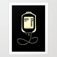 Coffee Transfusion - Black Art Print