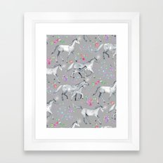 Unicorns and Stars on Soft Grey Framed Art Print