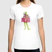 Art Is Hard - Flower Girl Womens Fitted Tee White SMALL