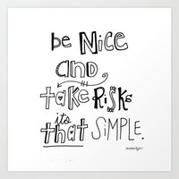 Nice + Risks = Happiness  Art Print