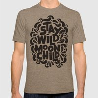 STAY WILD MOON CHILD Mens Fitted Tee Tri-Coffee SMALL