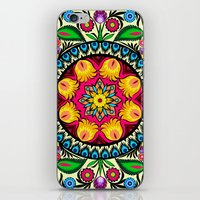 folk flowers collage iPhone & iPod Skin