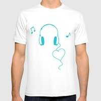 Music Love Mens Fitted Tee White SMALL