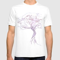 Quiet Acacia Zen Tree , Earthy African Bonsai Peace Lavendar Purple Mens Fitted Tee White SMALL