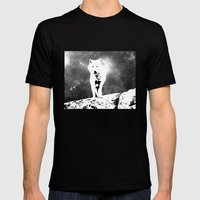 Walking On The Moon Wolf Mens Fitted Tee Black SMALL