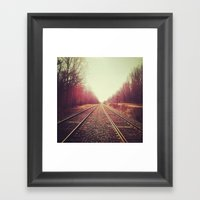 disappearing tracks Framed Art Print