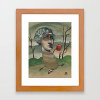 RED APPLE RACCOON Framed Art Print
