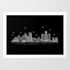 Detroit, Michigan City Skyline Art Print