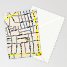 Tel Aviv map design - Florentin area - written in Hebrew Stationery Cards