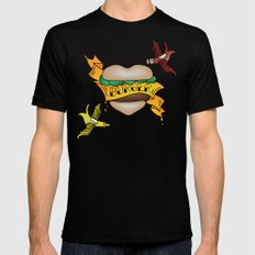 Burger Tattoo Mens Fitted Tee Black SMALL