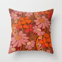 Crazy Pinks 50s Flower  Throw Pillow