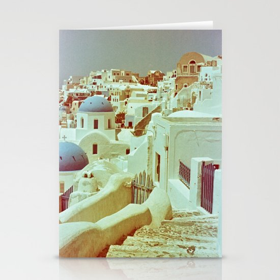 Santorini in Raspberry and Blue II: shot using Revolog 600nm special effects film Stationery Card