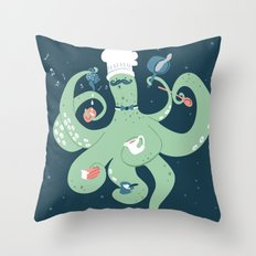 The Octopus Chef Throw Pillow