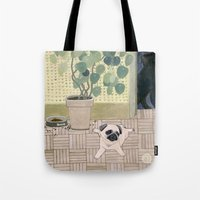 Pug Puppy Playing Tote Bag