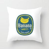 Banana Sticker On White Throw Pillow