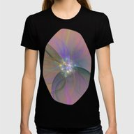 Fairy Blossom Fractal Womens Fitted Tee Black SMALL