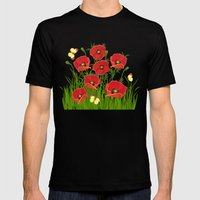 Poppies and butterflies Mens Fitted Tee Black SMALL