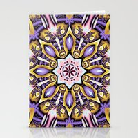 Kaleidoscope in purple, pink, gold and blue Stationery Cards