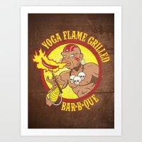 Yoga Flame Grilled BBQ Art Print