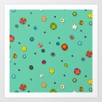 mint pop flower spot Art Print