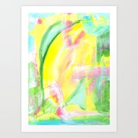 Beach Day - Abstract Painting - yellow, blue, pink, green, white Art Print