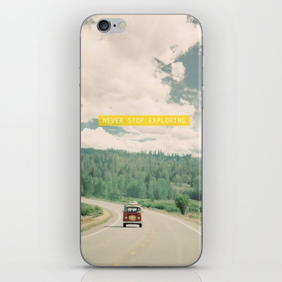 NEVER STOP EXPLORING - vintage volkswagen van iPhone & iPod Skin
