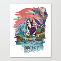 The Furious River Goddes… Canvas Print