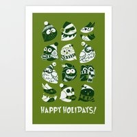 Elf Owls (monochromatic) Art Print